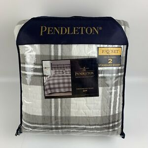 Pendleton Crestbrook Plaid FULL QUEEN Quilt With Two Shams Excellent Condition