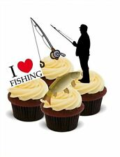 NOVELTY FISHING/FISHERMAN  MIX 12 STAND UP Edible Cake Toppers birthday