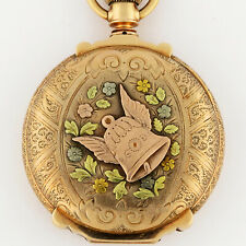 Elgin 14K Tri-Color Gold HC MultiColor Dial 18s 53.5mm Winged Bell Pocket Watch