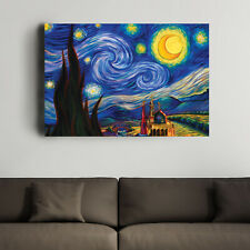 Van Gogh- Starry Night Art Print Reproduction, Canvas Wall Art, Canvas Painting