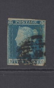 """GB QV 2d Blue SG14 Plate 4 """"SC"""" Two Pence Used Stamp - 4 margins"""