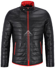 CAMILO Men Real Leather Jacket Black Quilted With Red Trimming Biker Coat 4141