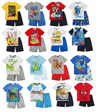 Boys Official Short Sleeve Summer T Shirt & Shorts Pyjamas PJs 3 - 12 Years