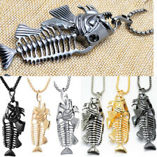 Creative Fish Bone Whole Fish Skeleton Stainless Steel Pendant Necklace Jewelry