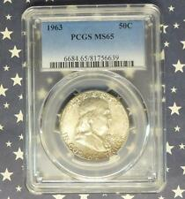 1963 Pcgs Ms65 Franklin Silver Half Dollar, Nice Mint Luster Ms 65 Coin