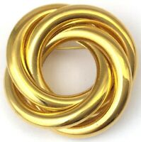 VINTAGE CIRCLE BROOCH INTERTWINED GOLD TONE METAL RETRO FASHION JEWELRY PIN