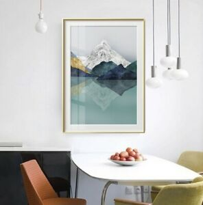 Mountain Landscape Geometric Design Canvas Print Poster Modern Painting B