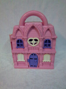 """Disney Pink Fold Out Dollhouse Pink Purple Playhouse Furniture 11"""" Toy"""