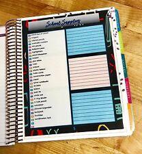 School Supplies Dashboard Insert for use with Erin Condren Planner