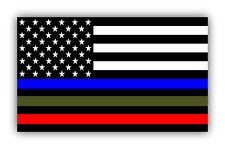 "Police Military and Fire Thin Line USA Flag Decal American Flag Sticker 5"" x 3"""