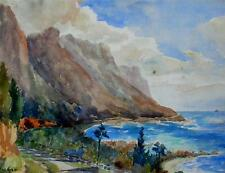 Mediterranean Coastal Path Probably Cote d'Azur Watercolour EE Wilson c1949/1950