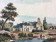 Ancienne commanderie d' Harville Meuse estampe colorisée vers 1835