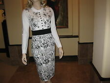 NWT Classy White And Black Floral Prints Collared Ponte Sheath Dress, M.