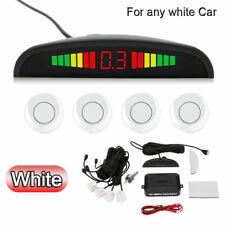 WHITE Color Car Reverse Parking Sensor Rear LCD Display Audio Buzzer Alarm Kit
