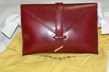 Lederer De Paris Burgundy Leather Clutch Bag Made in Italy