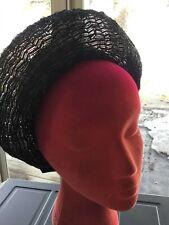 New listing Vintage women's Black Straw Like Basket Weave pill box Hat 60s