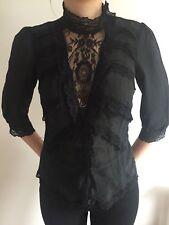 Warehouse Silk Black Lacy Blouse Size 8