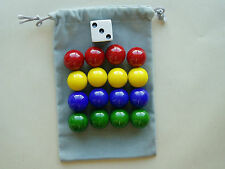 REPLACEMENT GAME MARBLES AND DICE.  4 PLAYER  1-INCH