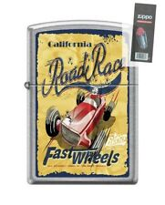 Zippo 207 CALIFORNIA ROAD RACE open wheel vintage poster Lighter + FLINT PACK