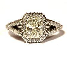 GIA 14k white gold 2.15ct radiant diamond Halo engagement ring 4.1g estate