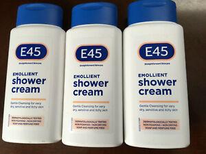 3 x 200ml E45 Emollient Shower Cream Dermatological
