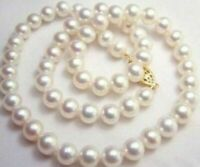 "GENUINE NATURAL AAA 9-10MM WHITE SOUTH SEA PEARL NECKLACE 18"" 17"" 14K GOLD CLASP"