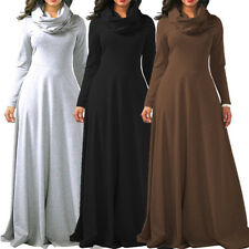 Ladies Maxi Full Length Solid Cowl Neck Dress Womens Long Robe Long Sleeve Dress