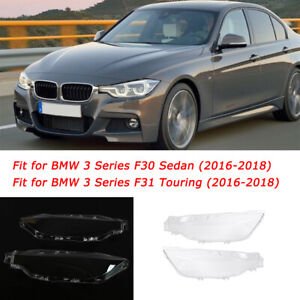 2PCS Headlight Headlamp Lens Cover Left & Right For BMW F30 F31 16-18 3 Series