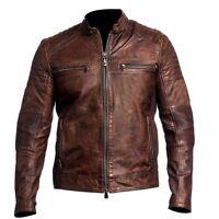 Cafe Racer Vintage Style Men's Brown Genuine Leather Biker Jacket