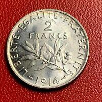 #3797 - RARE - 2 francs 1914 Semeuse Argent SPL - FACTURE