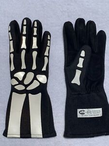 AUTO RACING-GLOVES-NOMEX-DOUBLE-LAYER-DRIVING-SFI 3.3/5 GLOVES-White-Skeleton