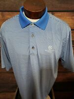 Footjoy Mens Large Blue White Striped Short Sleeve Golf Polo Shirt With Logo