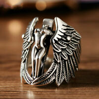 Elegant 925 Sterling Silver Boho Fashion Jewelry Cross Angel Wings Ring Size 10