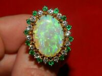 Large 6.00CT Fire Opal Diamond & Emerald Statement Ring 14K Yellow Gold Over