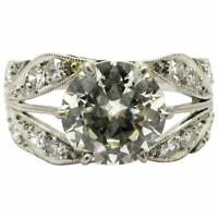 Platinum Old European Cut Art Deco Style Diamond Engagement Ring, Size 7.5
