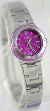 Casio Ladies Purple Dial Metallic Stainless Steel Dress Watch LTP-1368D-6A New
