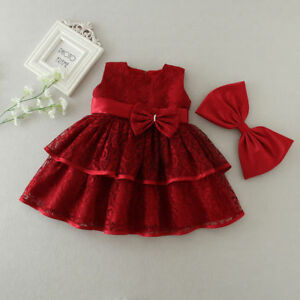 Newborn Baby Girls Red/White Christening/Birthday/Prom Tutu Party Princess Dress