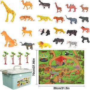 27pcs Realistic Animal Toy Figures Playset with Play Mat & Trees Educational Set