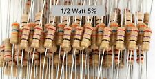 1/2W 5% carbon film tan resistors-5 pcs -Any Value-Ship Day Ordered - Mr Circuit