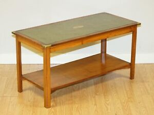BEVAN FUNNELL MILITARY CAMPAIGN YEW WOOD GREEN LEATHER TOP COFFEE TABLE