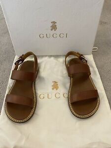Boys Gucci Sandals Brown Leather Size 28