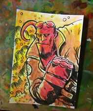 Original Art Sketch Card Hellboy ACEO Oversized Trading Card 1/1 Illustration