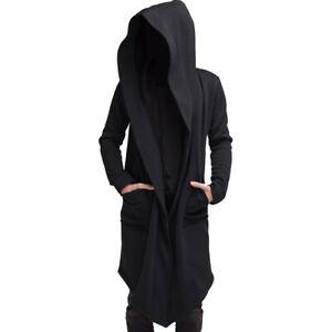 Men's Hoodie Winter Long Jacket Cardigan Casual Trench Cloak Cape Coat Outwear