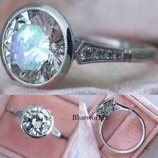 2CT Round VVS1 Moissanite Ring Bezel Set Engagement Wedding Ring 14K White Gold