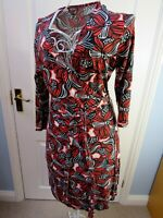PHASE EIGHT Jersey Wrap Dress 14 Black Rust Floral Stretch Career Stretch Office