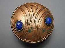 Old Arts & Crafts Design Round Copper Box with Sodalite Cabochons signed Chile