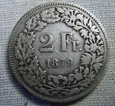 HELVETIA  SVIZZERA SWITZERLAND 2 FRANCS FRANCHI 1879 (silver) ARGENTO RARA