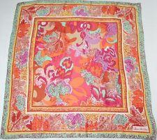 Jane Shilton Sciarpa di Seta-Verde pastello / Arancione Motivo Astratto-LARGE