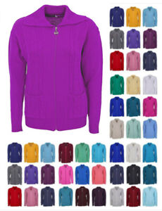 cable knit jumper Cardigan for Womens plus size clothing ladies zipped W46