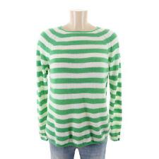 ANOTHER BRAND Pullover Kaschmir Cashmere Streifen Gestreift Grün Weiß Gr. L 40